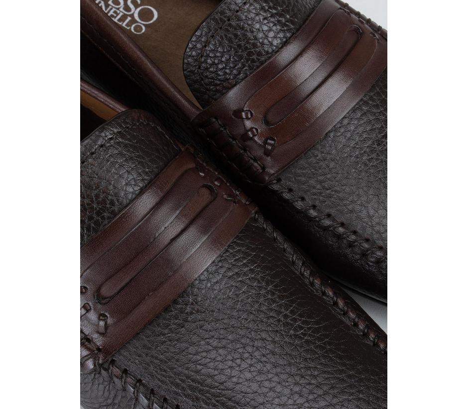 Black Leather Panel Moccasins
