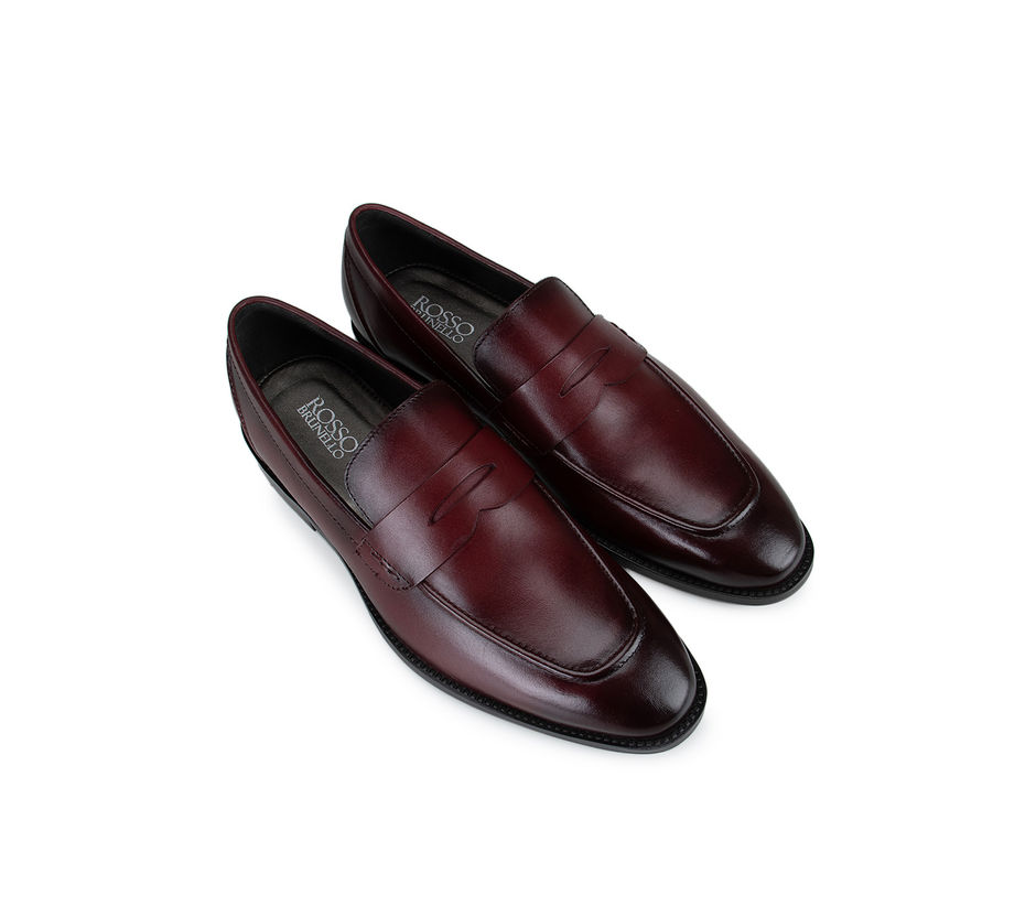 Burgundy Leather Panel Loafers