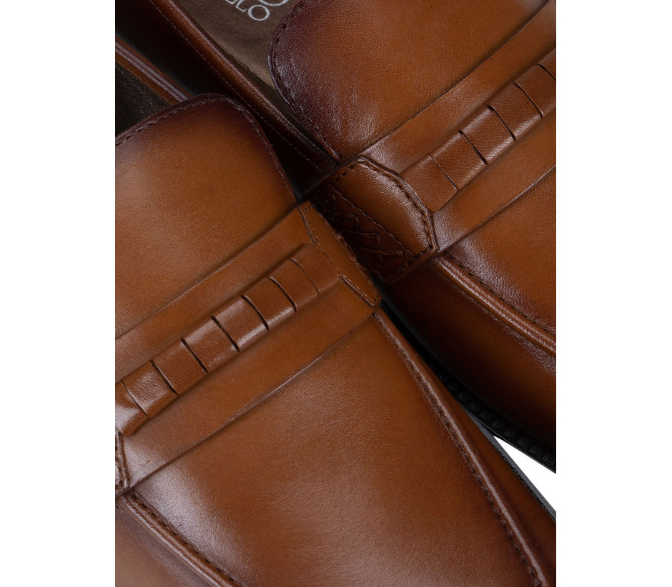 Tan Leather Panel Loafers