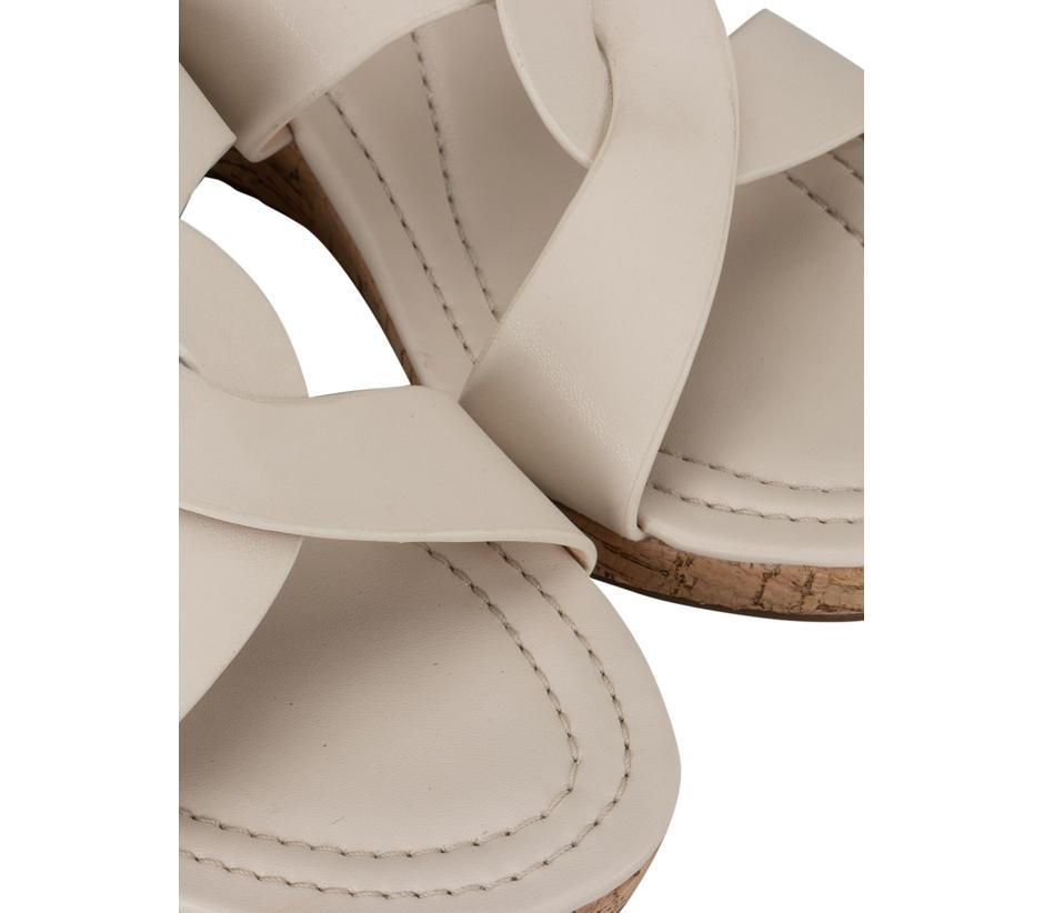 White Criss Cross Strap Wedges