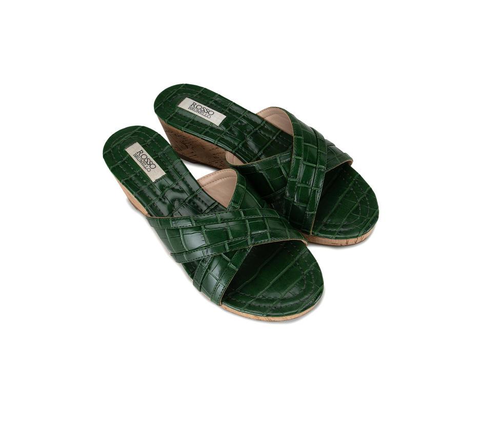 Green Croco Effect Wedges