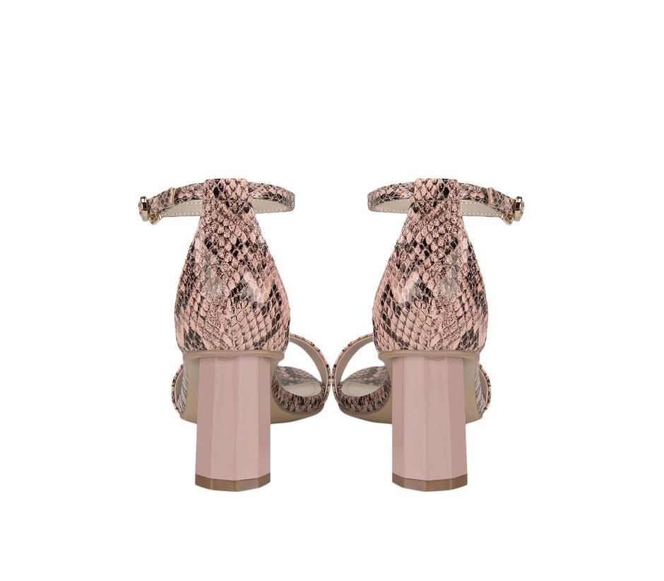 Pink Snake Textured Strap Heels