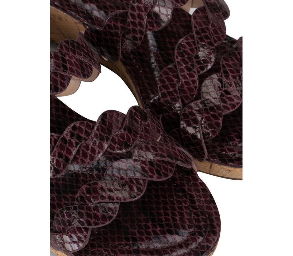 Burgundy Criss Cross Style Wedges