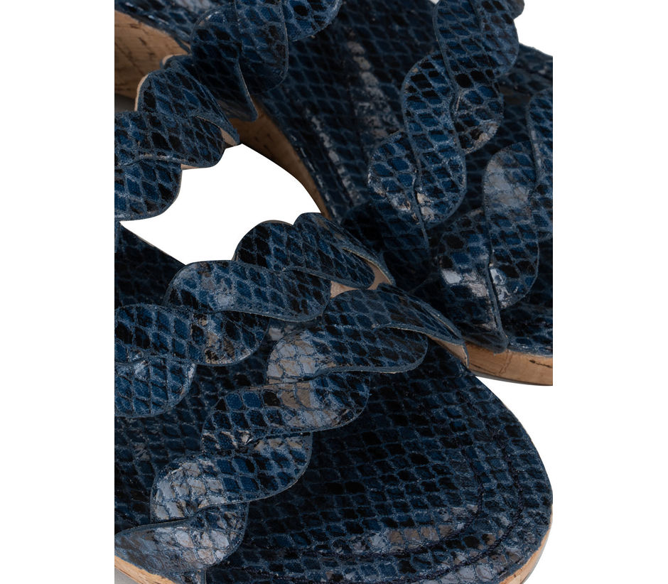 Navy Blue Criss Cross Style Wedges