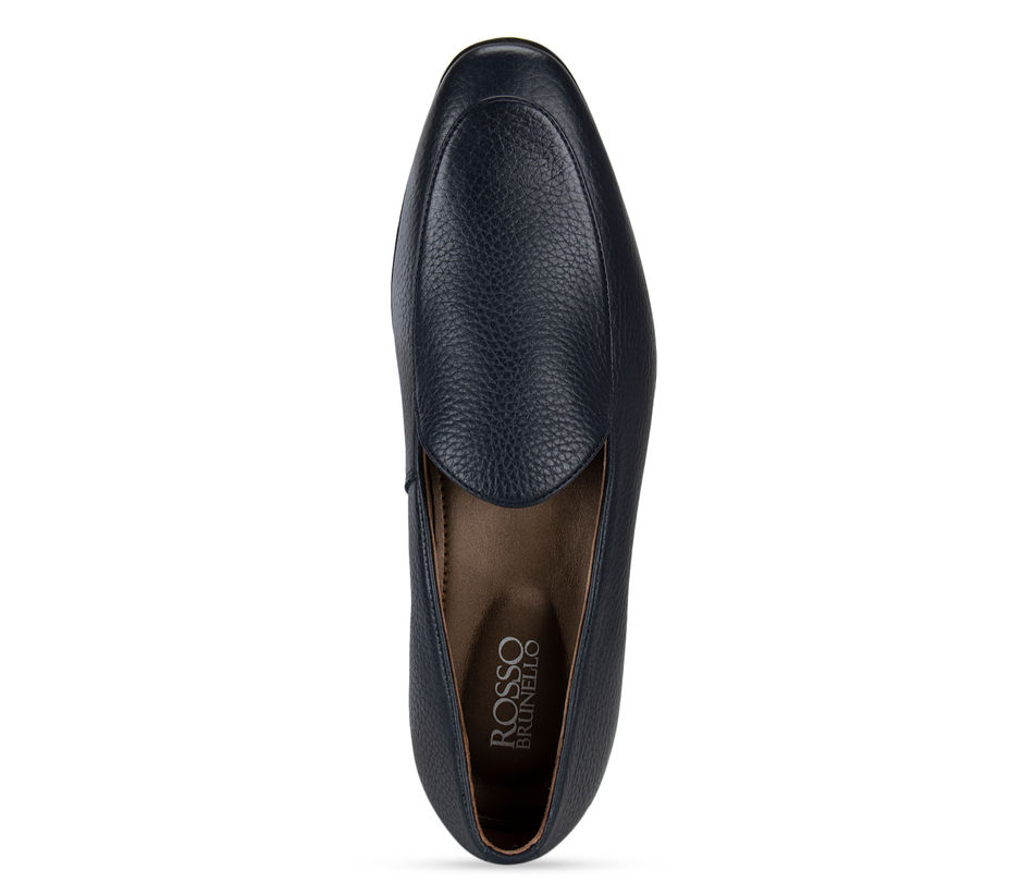 Navy Blue Textured Leather Loafers