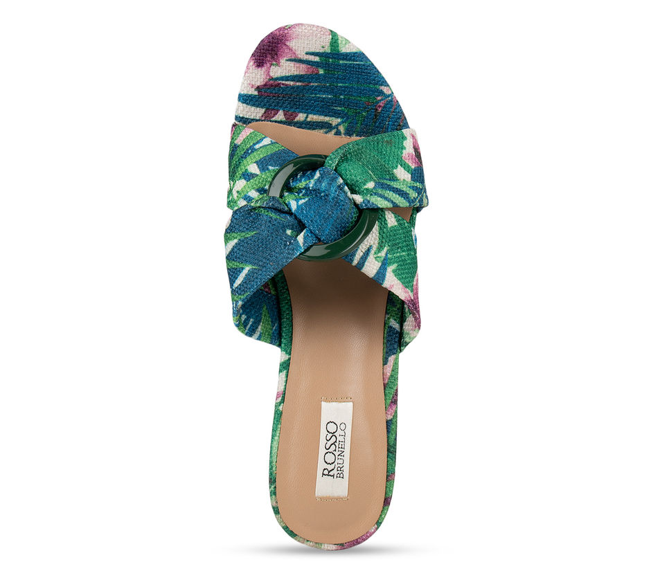 Green Criss Cross Printed Wedges
