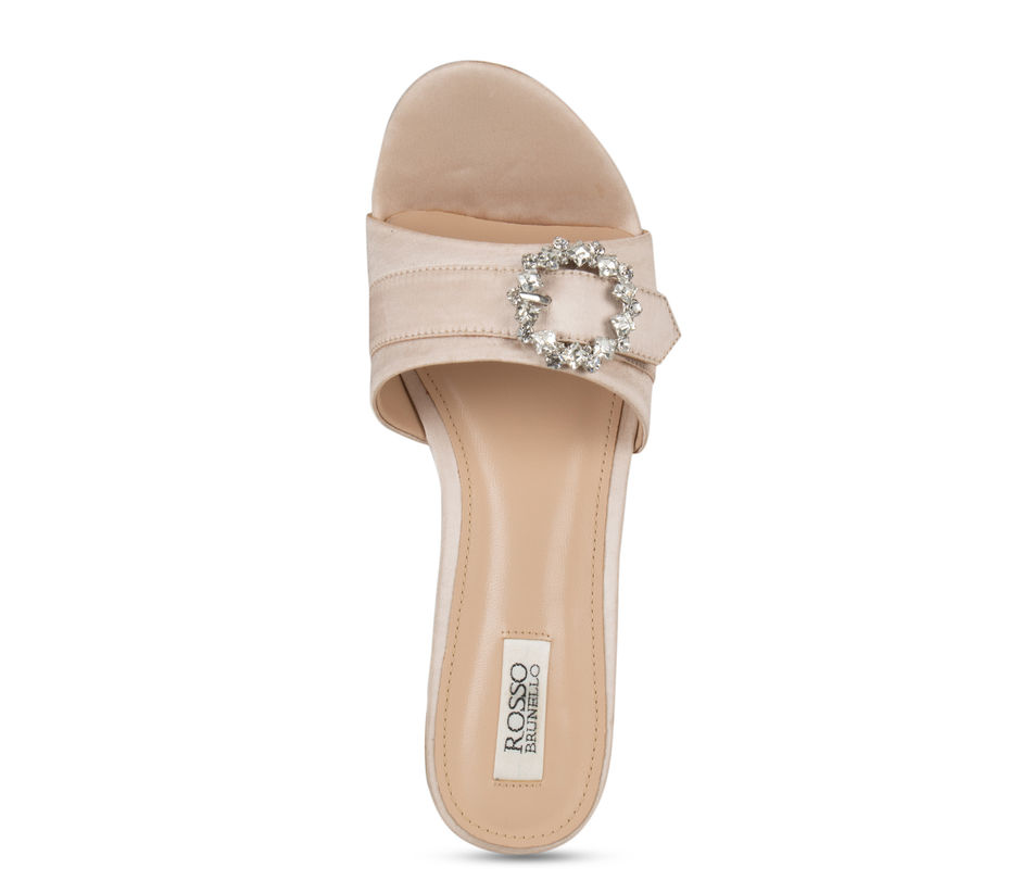 Beige Embellished Buckle Wedges