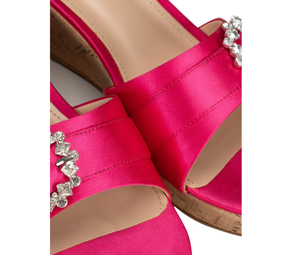 Pink Embellished Buckle Wedges