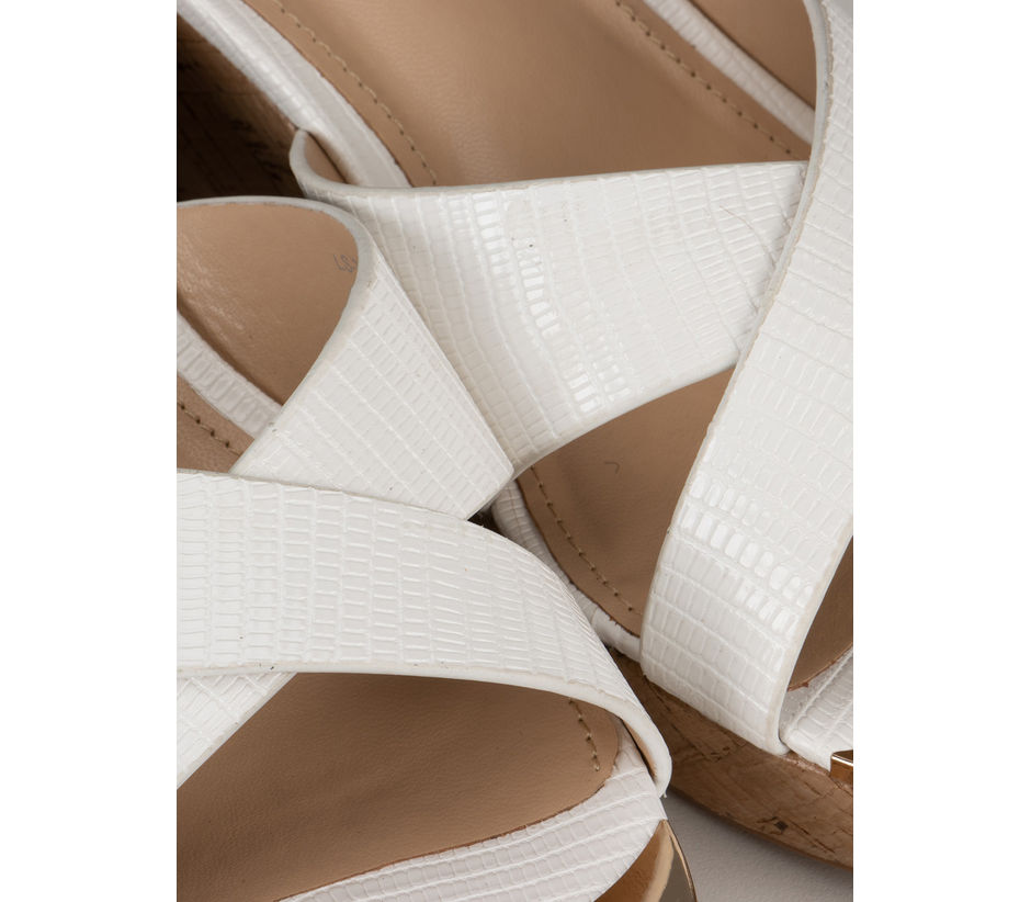 White Criss Cross Strappy Wedges