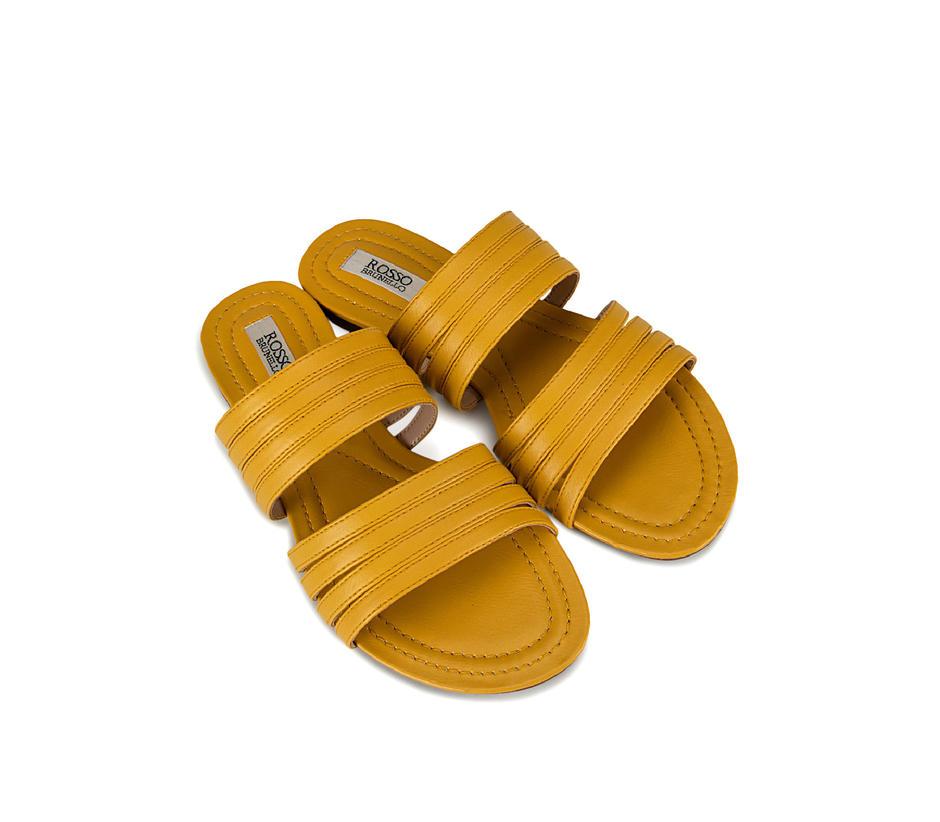 Mustard Plain Leather Slides