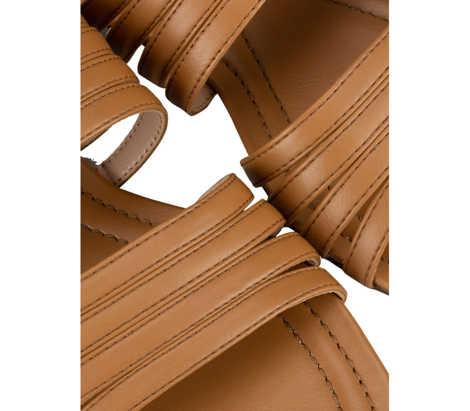 Tan Plain Leather Slides