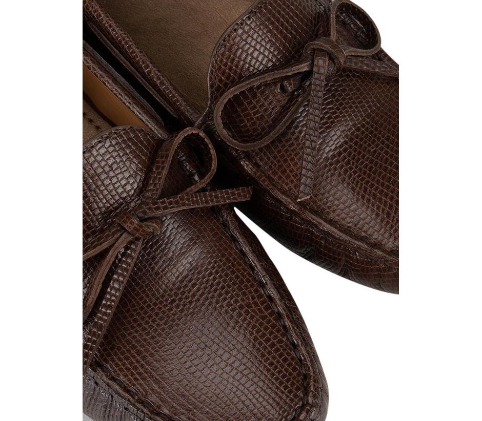 Brown Textured Moccasins