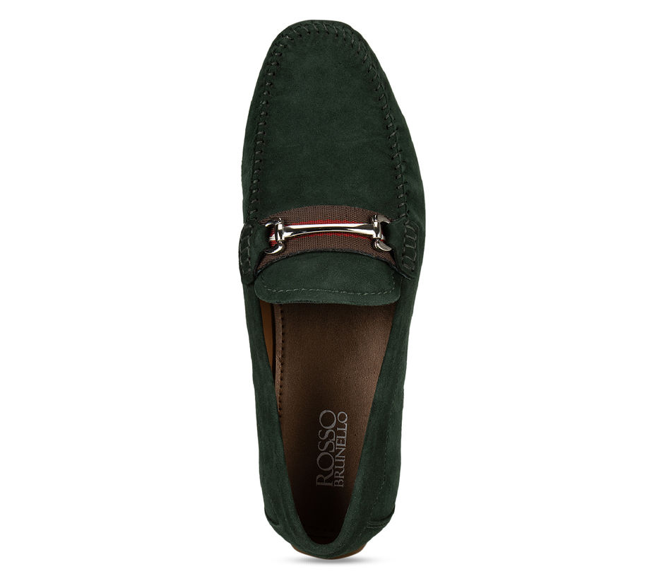 Green Metal Buckled Suede Moccasins