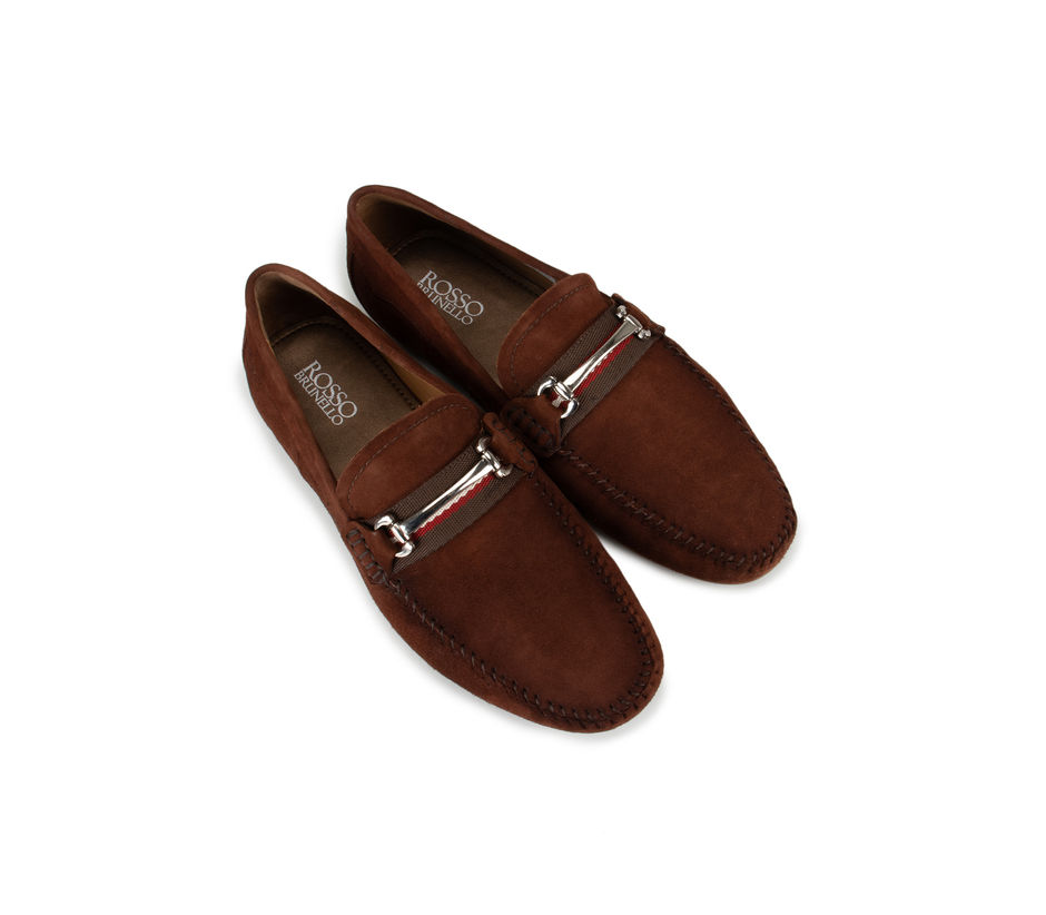 Rust Metal Buckled Suede Moccasins