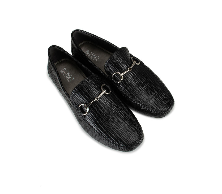 Black Metal Buckled Moccasins