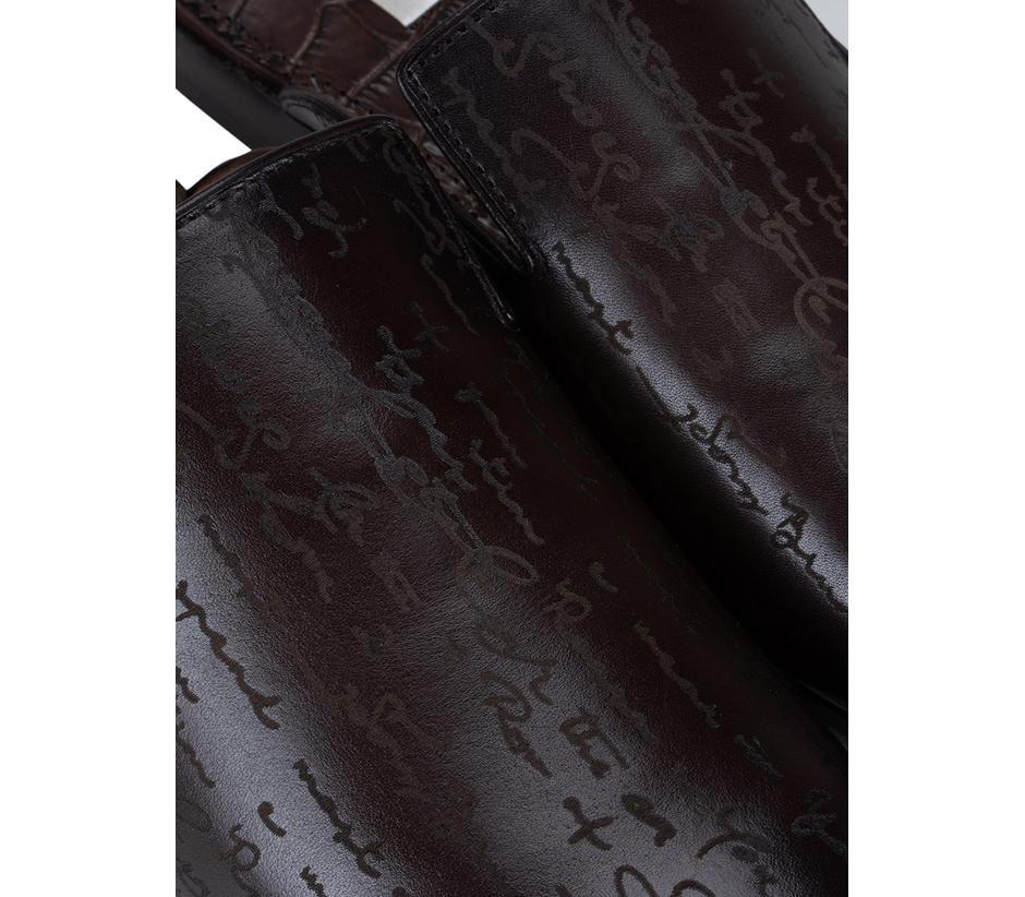Coffee Signato Leather Mules