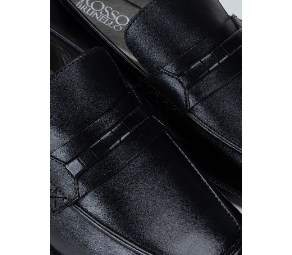 Black Leather Panel Loafers