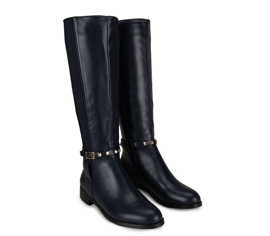 Navy Embellished Calf Length Boots