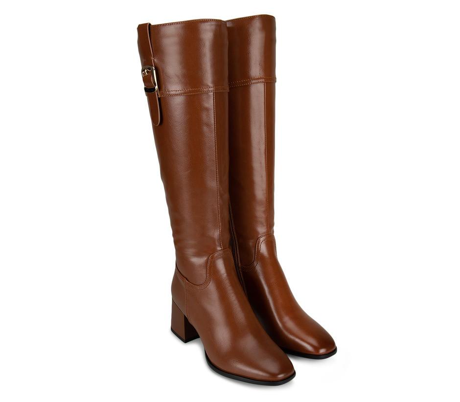 Tan Calf Length Boots