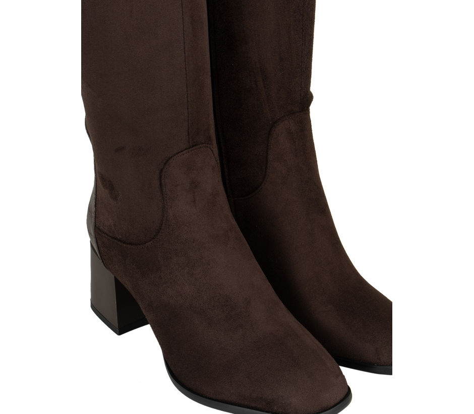 Coffee Knee-High Suede Boots