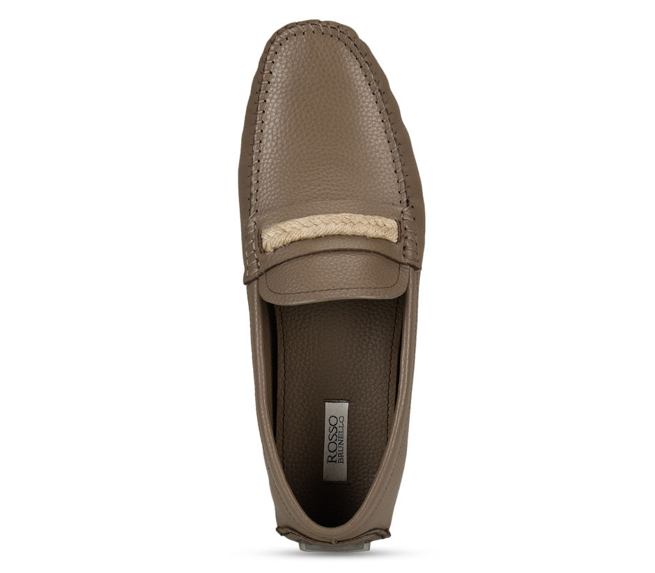 Grey Casual Leather Moccasins
