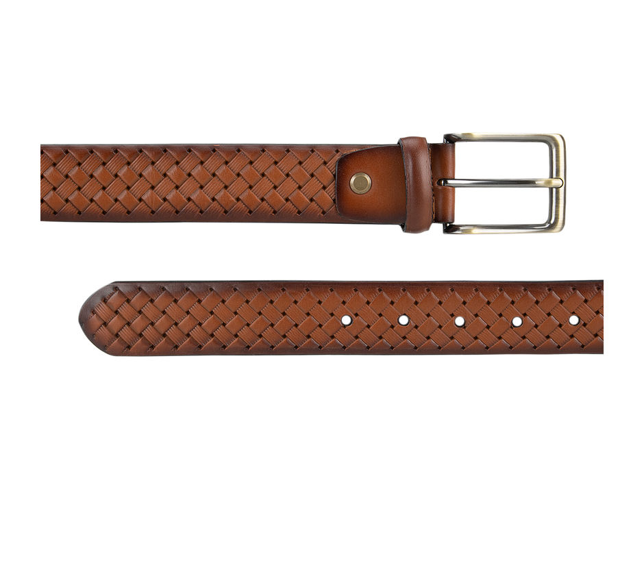 Tan Weave Pattern Belt