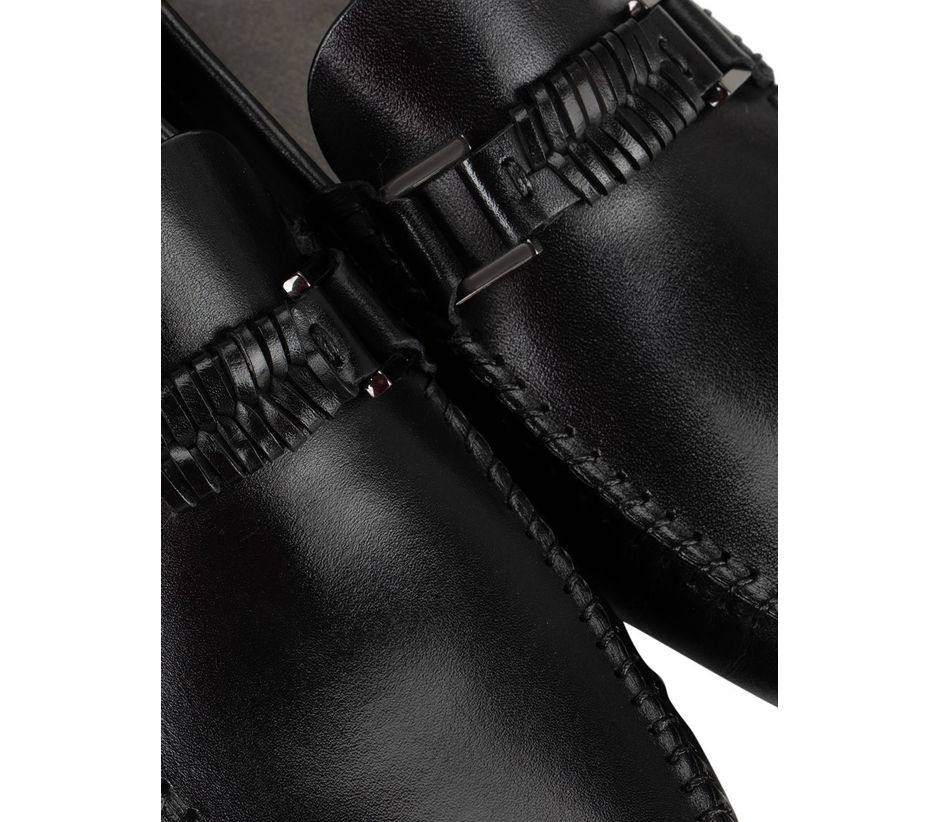 Black Plain Leather Moccasins