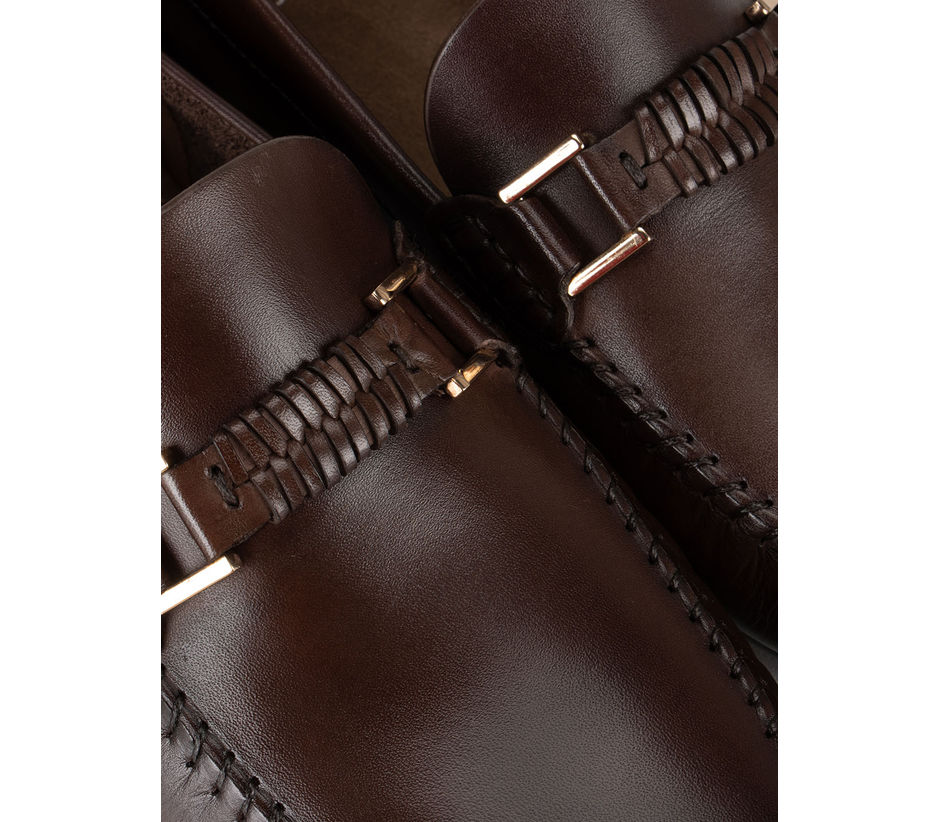 Coffee Plain Leather Moccasins