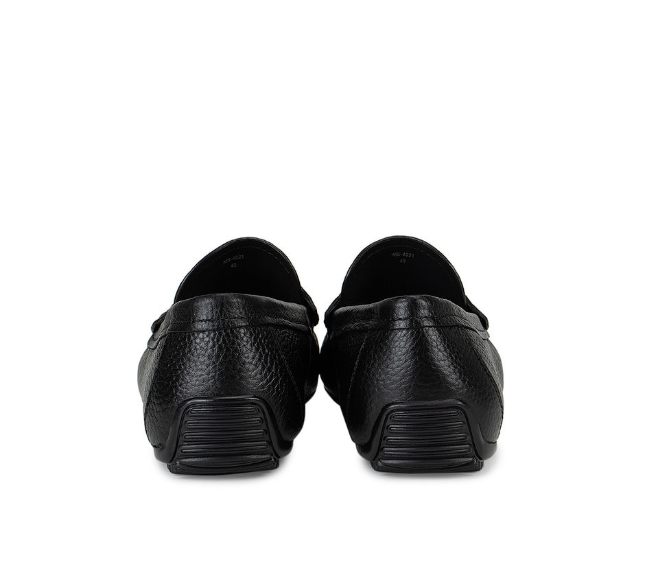 Black Textured Leather Moccasins