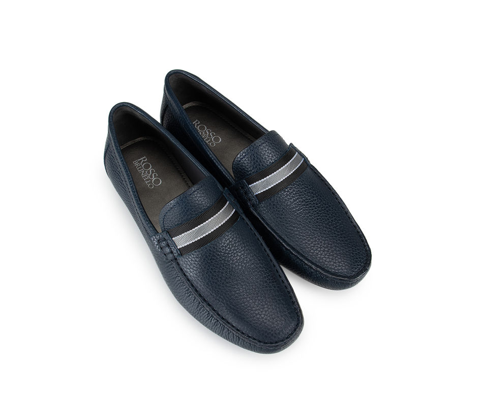 Blue Textured Leather Moccasins