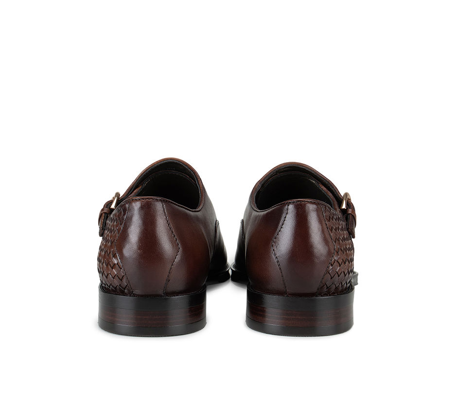 Brown Loafers With Woven Texture