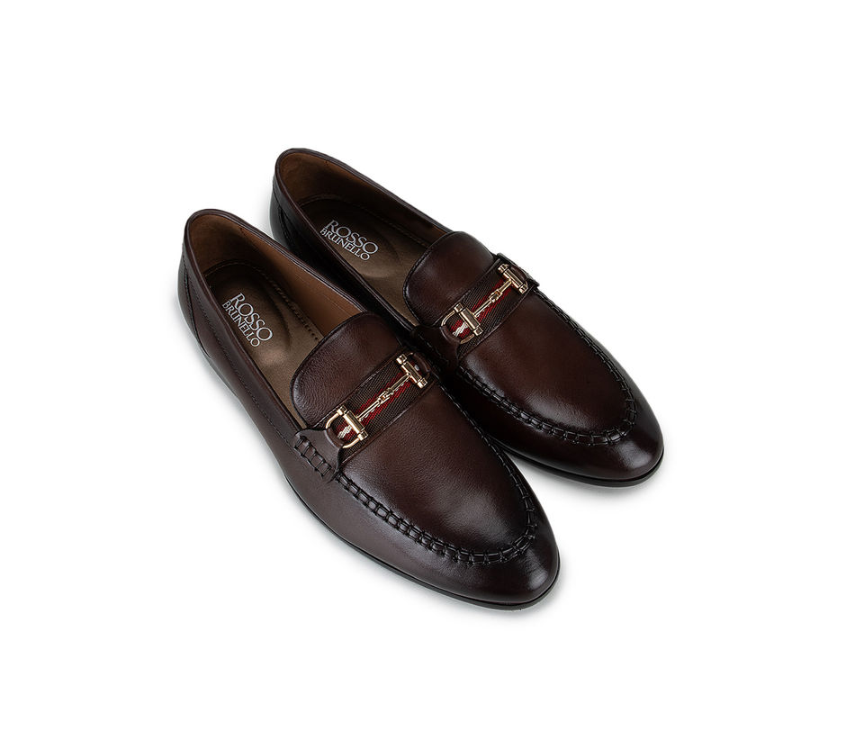 Coffee Embellished Loafers