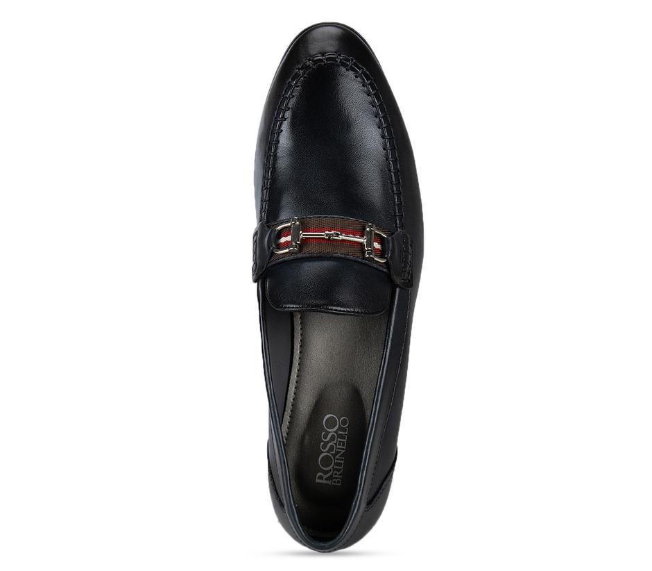 Navy Blue Embellished Loafers