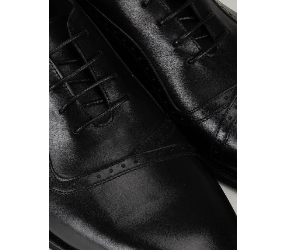 Black Plain Leather Lace-Ups