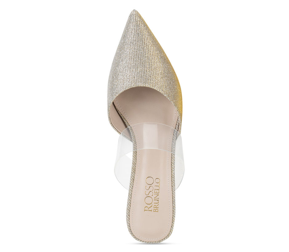 Gold Clear Strap Mules