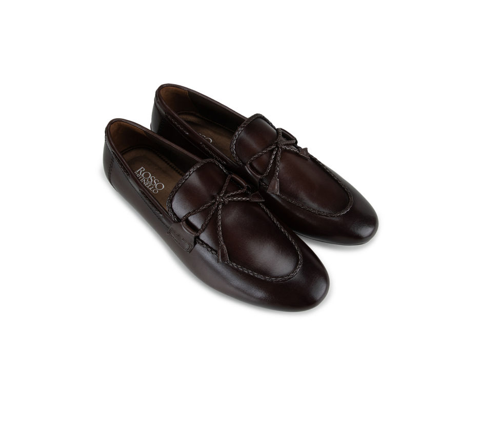 Brown Leather Bow Moccasins