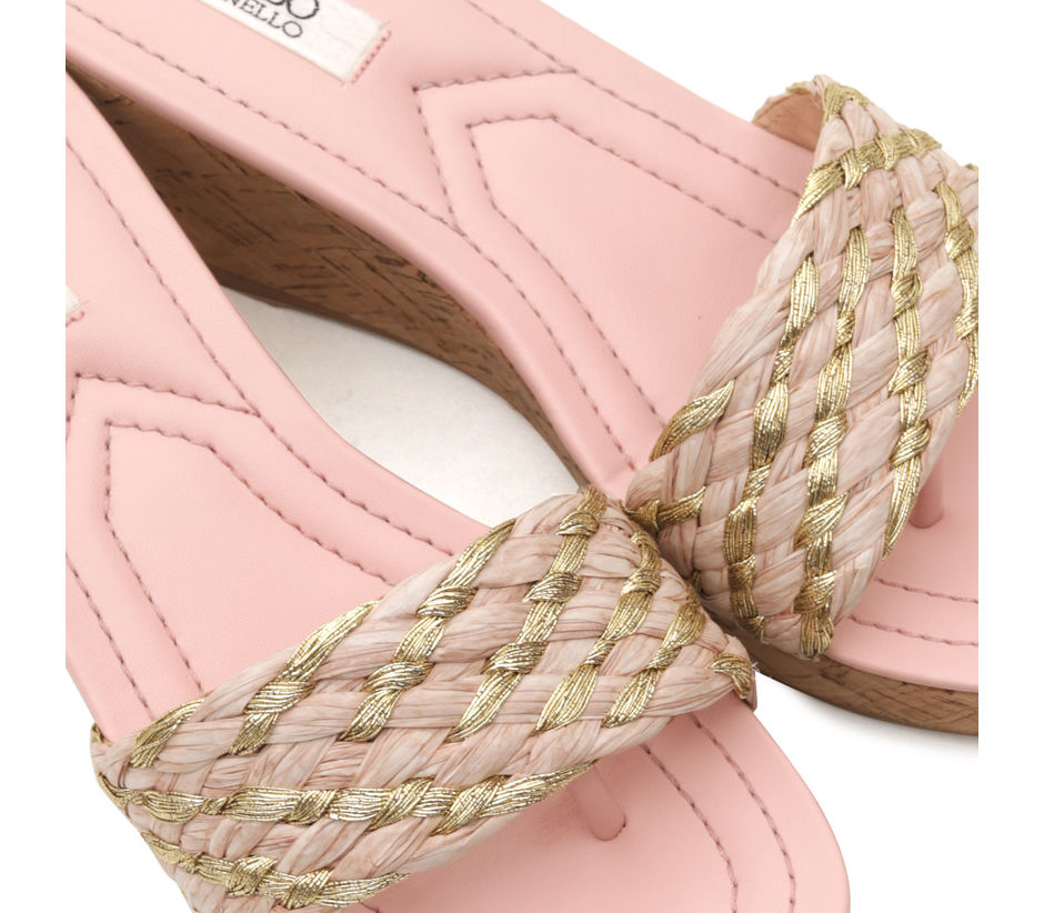 Pink Woven Wedges