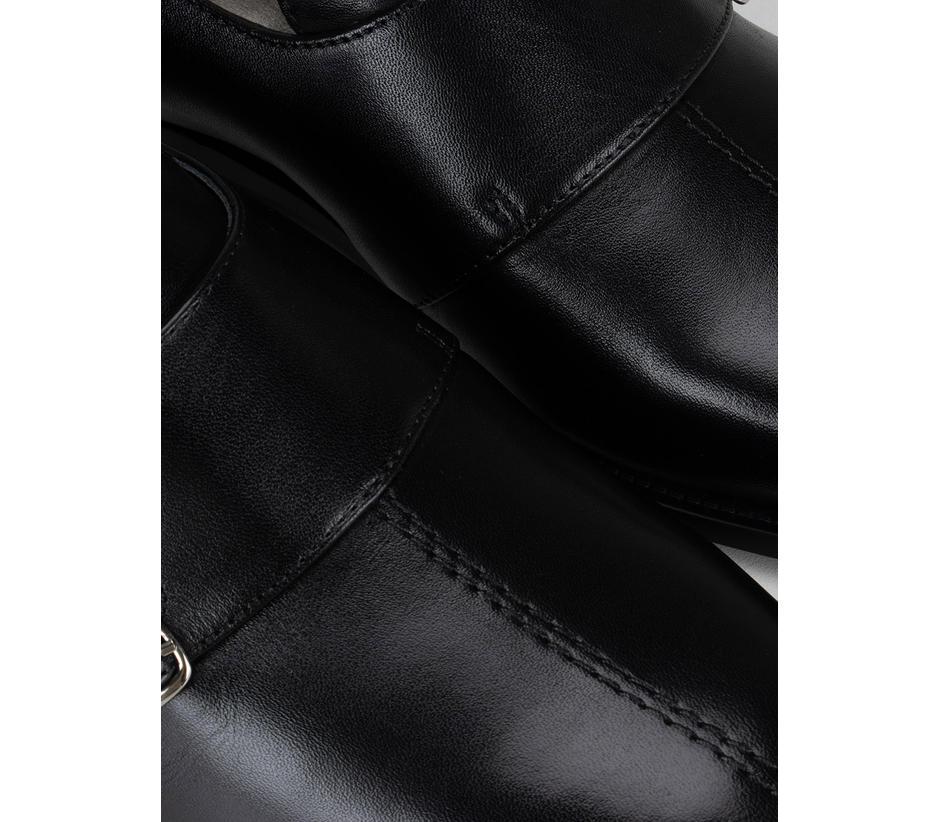Black Plain Monk Straps