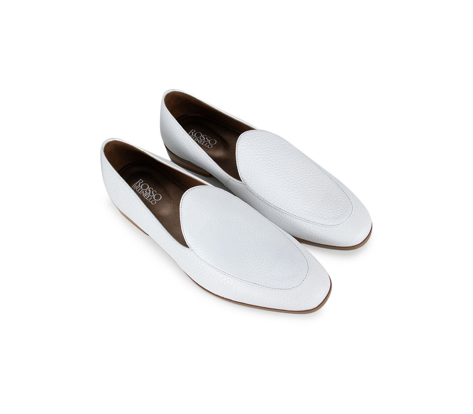 White Textured Leather Loafers