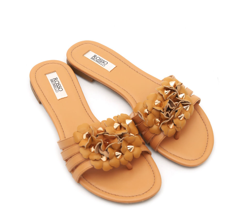 Tan Flats with Floral Detailing