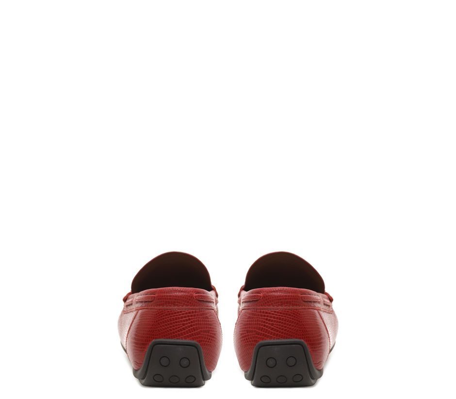 Printed leather moccasins