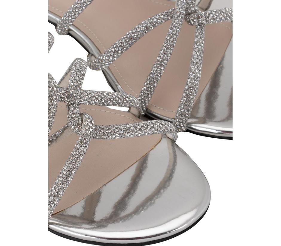 Silver Embellished Criss Cross Flats
