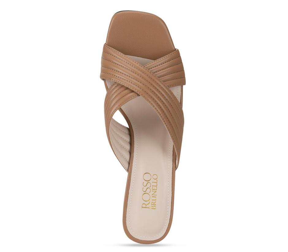 Tan Criss Cross Strap Heels