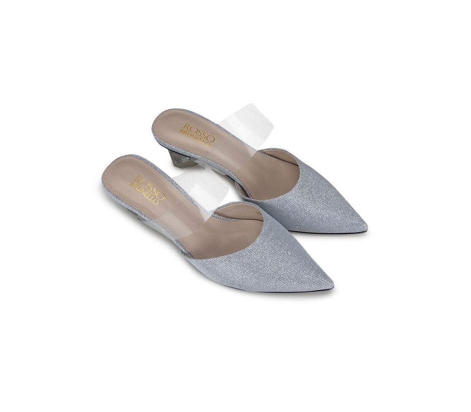 Silver Clear Strap Mules