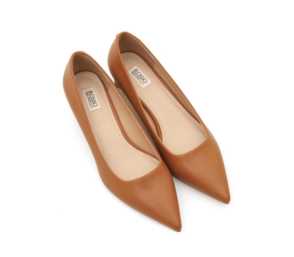 Plain Brown Block Heels