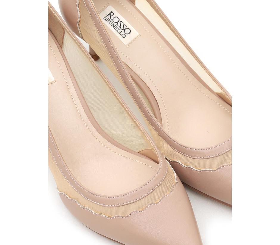 Pink Heels With Net Detailing