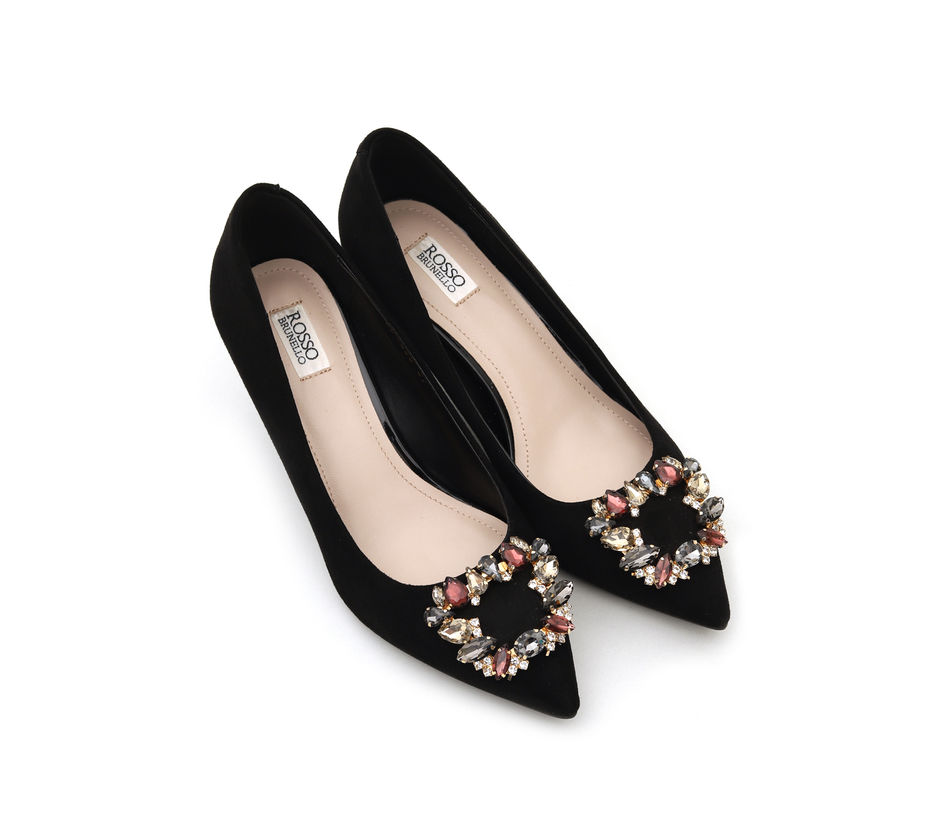 Black Suede Heels With Studded Embellishment