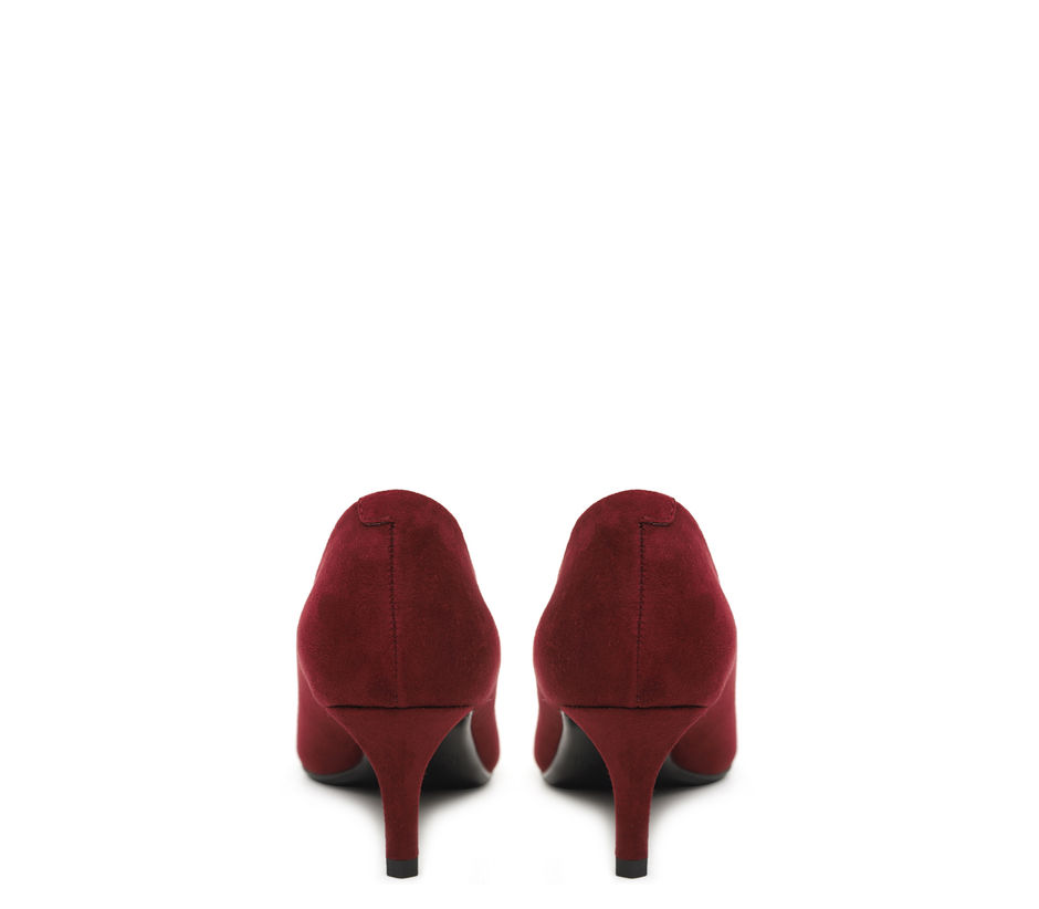Burgundy Suede Heels With Studded Embellishment