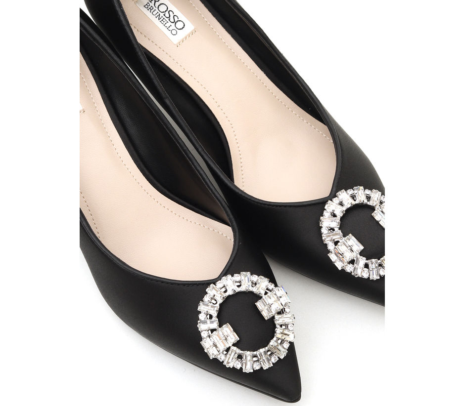 Black Heels With Studded Buckle
