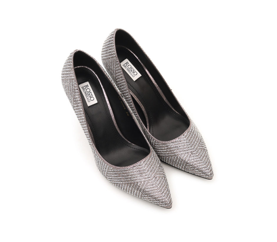 Embellished Pewter Pointed Toe Heels